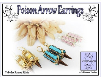 Tila Beading Pattern, Tutorial, Earrings - POISON ARROW