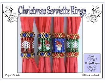 Beading Pattern, Tutorial, Napkin Ring Holder - CHRISTMAS (serviette napkin ring)