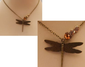 Gold Dragonfly Pendant Necklace Jewelry Handmade NEW Adjustable Accessories Fashion