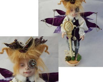 Erma Rattlebag Steampunk OOAK Fairy Fairies Sculpture Art Doll Posable NEW Key polymer clay