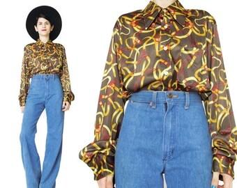 Vintage GIVENCHY Shirt Equestrian Print Shirt 70s Disco Shirt Designer Womens Blouse Novelty Print Blouse Brown Button Down Shirt (M/L/Xl)