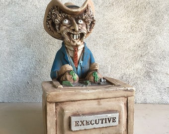 Rare retired 1989 Shade Tree Creations Inc Executive cowboy sculpture by Bill Vernon