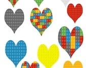 Mix Heart Shape Lego Set-Background-Digital-ClipArt-Art Clip-Banner-Notebook-Scrapbook-Party-Jewelry-Coaster-Website.
