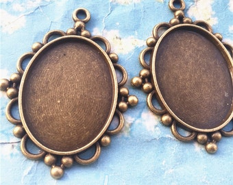 NEW COME 5pcs 64x40mm antiqued bronze oval cameo/cabochon base setting pendant blanks/bezel trays(40x30mm incavity)