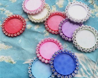 10pcs 36mm assorted crystal round resin cabochon/cameos/cabs trays blanks charms findings(fit 25mm cabochons)