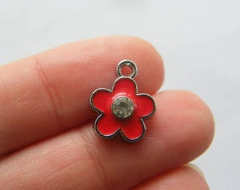 4 Flower red charms silver tone F180