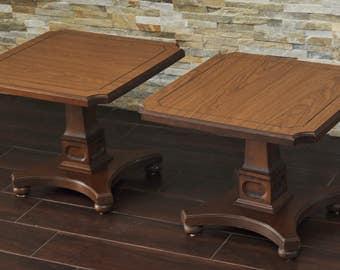 SALE! Pair MCM Low End Tables-Mersman Pedestal Square Tables-Vintage Bunching Tables