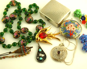 Bohemian Jewelry Lot - Native American Jewelry - Venetian Jewelry - Chinese Jewelry - Sterling Lot - Destash - Vintage