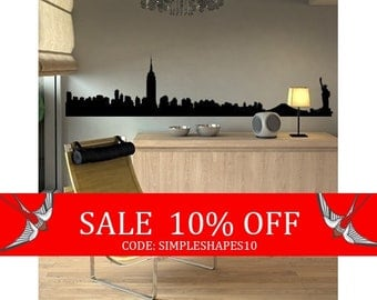 Sale - NYC Manhattan Skyline Decal - Vinyl Wall Sticker