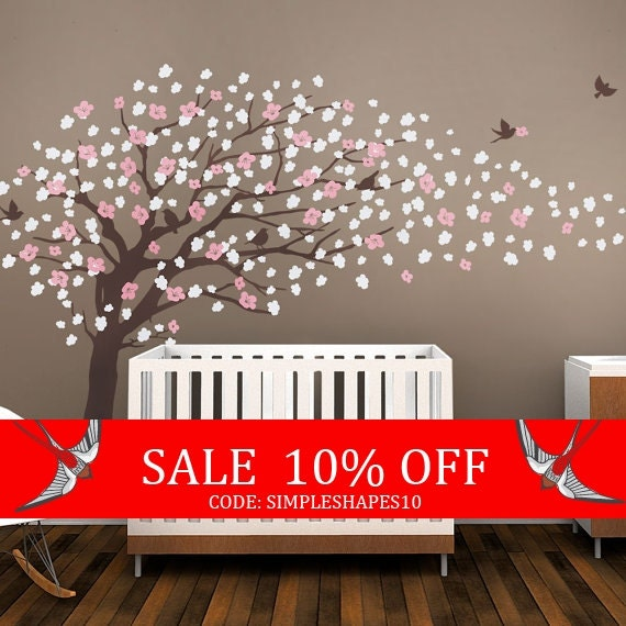 Sale - Tree Wall Decals - Cherry Blossom Tree Decal - Elegant Style - LARGE
