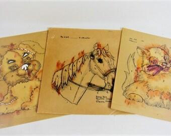 Vintage Wax Stencils 3 Stencils Sets - Kitten - Horse - Puppy - Olive Tullis - Polly Dell