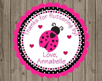Thanks For Fluttering By Tag, Ladybug Birthday Tag, Pink Black Ladybug, Girls Birthday Tag