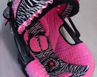 Zebra with Pink Minky Dot Infant Baby Car Seat Cover 5 piece set