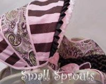 Pink, Brown And Green Paisley/Stripe with Brown Minky Infant Car Seat Cover 5 Piece set