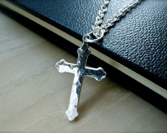 Hammered silver cross necklace. Unique mens cross sterling silver necklace for him. Gethsemane cross three foil cross pendant jewelry