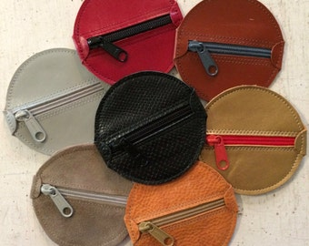 Leather Change Purse Round Zippered, Coin Purse, Small Zip Bag, Earbud Pouch, Condom Pouch, Pill Pouch, Small Leather Zip Bag, Stockingstuff