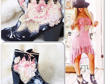 Boho booties, Bohemian festival boots, French market embellished shoes, Shabby cottage chic pearl black ankle booties, True rebel clothing