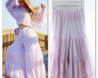 M Gypsy Wide Leg Pant, Boho Shabby Lace Wideleg Pant, Bohemian Style Summer Palazzo Pant, Lilac Cotton Pant, Boho Pant, True Rebel Clothing