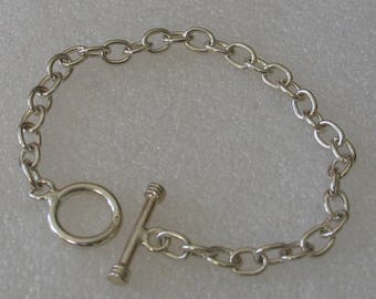 """Sterling Silver Toggle Chain Bracelet 7 1/2"""""""