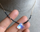 Rainbow Moonstone and Spinel Necklace, Faceted Moonstone Pendant, Boho Luxe Gemstone Necklace, Bohemian Jewelry