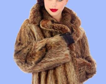 Luxurious Raccoon Fur Coat Sz M