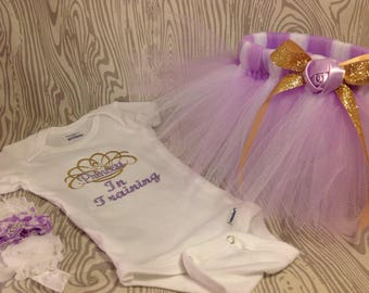Lavender gold girls tutu outfit, princess in training bodysuit with matching headband, purple outfit, bodysuit, Pageant outfit, pageant wear