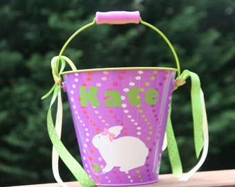 Personalized Easter basket/pail for girls - white Bunny with pink bow and ribbons on the handle - READY TO SHIP last one available