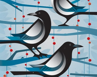 """Magpie Print - 11"""" x 14"""" French Paper Speckletone True White 100# Cover, Vintage Inspired"""