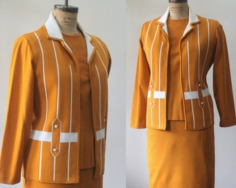Vintage 1960s Dress Suit 1960s Skirt Jacket Top 3 Piece Suit 1960s Clothing Mod Skirt Set Mod Dress Set Mustard Yellow Size Large