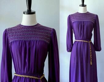 70s Dress Vintage Purple Dress Disco Clothes Womens Midi Dress 1970s Clothing Womens Smocked Dress Semi Sheer 70s Clothes Small