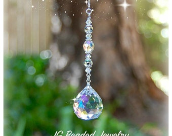 Prism Crystal Suncatcher, Rearview Mirror Car Charm, Window Decoration, Hanging Crystal Prism, Sun Catcher, Light Catcher, Rainbow Maker