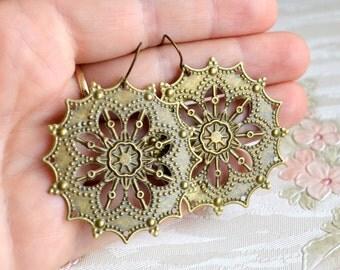 Filigree earrings Large earrings Filigree Jewelry Bohemian earrings Boho jewelry Gypsy earrings Beaded Jewelry Dangle earrings Gift under 10