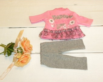 Pink Tunic Dress and Grey Leggings - 14 - 15 inch doll clothes
