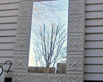 Tin Ceiling Mirror. Vintage Architectural salvage. 2'x3' Bathroom Bedroom Wall mirror. Metal tile grey mirror. Antique Pressed tin mirror
