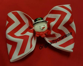Boutique Snowman on Red and White Chevron Hairbow