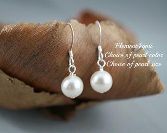 Pearl earrings, Classic style, Single pearl drop, Sterling silver, Short dangle, Swarovski pearls, Bridesmaid earrings, Wedding jewelry