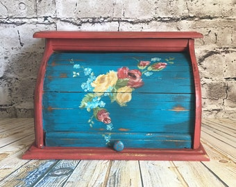 Bread box, red bread box, wood bread bin, teal bread box, red and blue bread box, vintage bread box, hand painted box, bohemian bread box