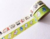 "Japanese Washi Masking Tape / 15mm Shibainu ""Shibanban"" for scrapbooking, packaging, party deco, card making"