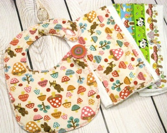 Fawn Bib and Burp Cloth Set, Woodland Baby Set, Kawaii Baby, Deer, Mushroom, Panda, Baby Bib, Baby Burp Cloth Set