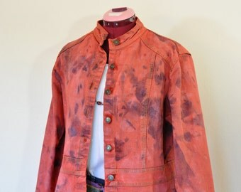 Red Large Denim Jacket - Tomato Red Dyed Upcycled St. Johns Bay Denim Blazer Jacket - Adult Women Size Large (44 chest)