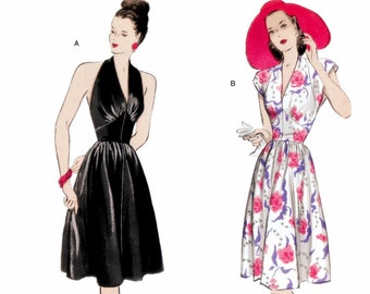 Halter Top Dress Pattern, Retro 1947 Dress Pattern, Evening Dress Pattern, Butterick Sewing Pattern 5209