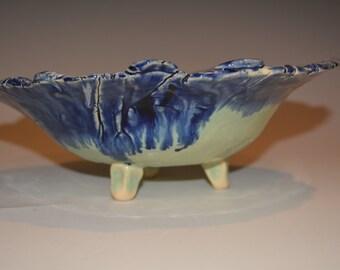 Pottery Handmade, Ceramic Bowl, Candy Dish, Pottery Trinket Dish, Ceramics and Pottery Bowl, Blue and Green