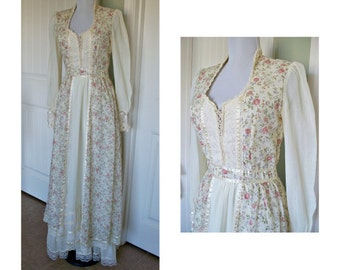 Vintage Gunne sax Corset - hippie, boho, gypsy, peasant, prarie,maxi dress,  vintage dress, cotton