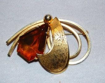 Vintage / Rhinestone / Large / Brooch / Amber / Cabochon / Old / Jewellery / Jewelry