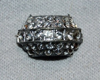 Vintage / Victorian / Antique / C Clasp / Brooch / Rhinestones / Clear / Pin / old / jewelry / jewellery