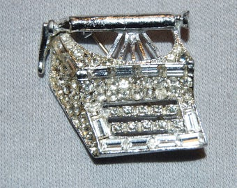 Vintage / Typewriter / Brooch / Clear / Sparkling / Rhinestone / Baguettes / Silver Tone / Old /  jewellery / jewelry