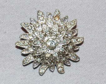 Victorian Antique Brooch, C Clasp Clear Rhinestones, Pin old jewelry