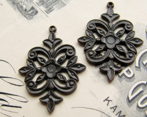 Antiqued brass filigree charms 20mm (2 black brass charms) William Morris style flower flourish, aged black patina, small unique charms