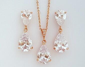Rose Gold Wedding Jewelry Set, Crystal Earrings Necklace Set, Bridesmaid Set, Rose Gold Cubic Zirconia Jewelry Set, Clara