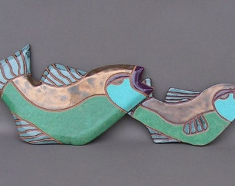 One Fish, Two Fish!  A Pair of Hanging Stoneware Fish Tiles Glazed in Gold, Blues, and Blue-Green